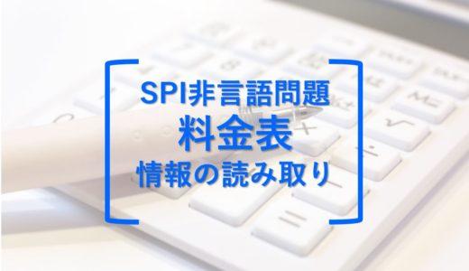 SPI非言語問題:料金表(情報の読み取り)